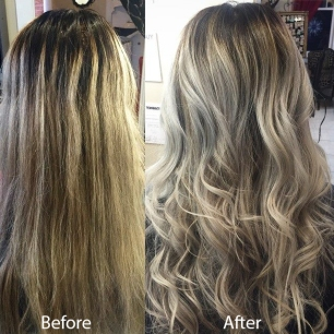 This image is a color correction from a client that experiences a balayage gone bad