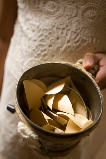 Hand-cut paper hearts for the flower girl